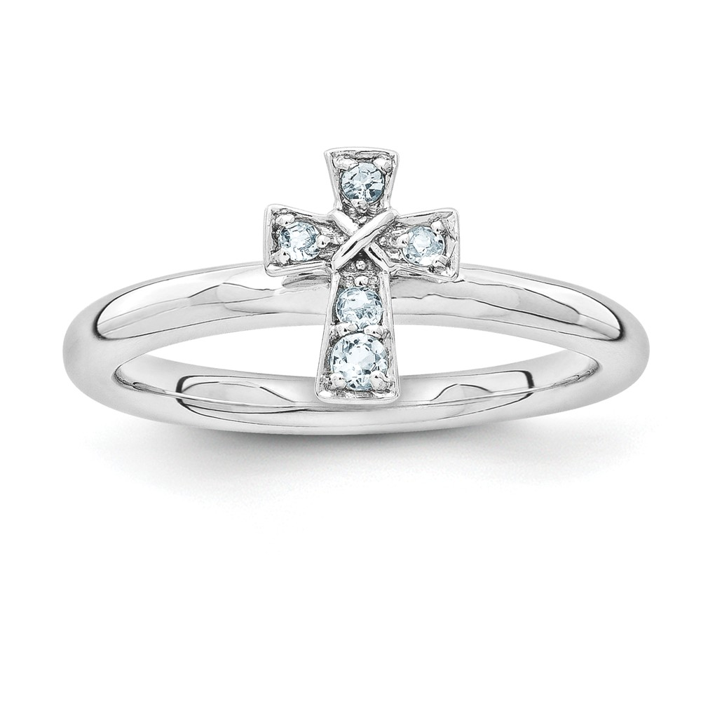 Rhodium Plated Sterling Silver Stackable Aquamarine 9mm Cross Ring Sz9