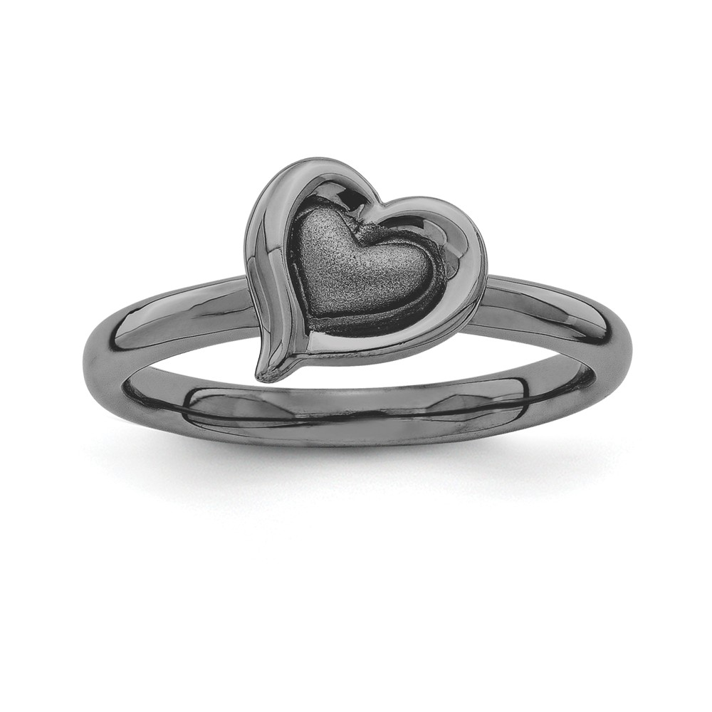 Black Plated Sterling Silver Stackable 9mm Heart Ring Size 8
