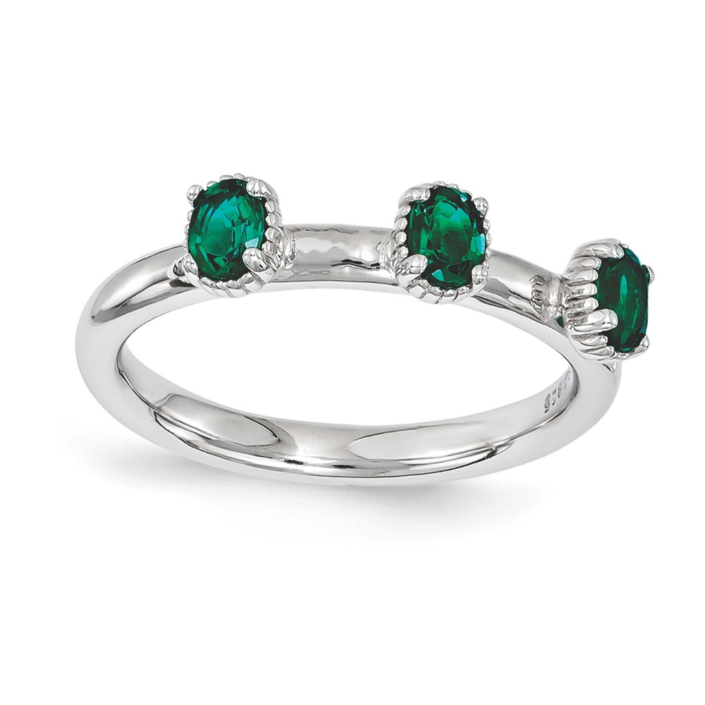 Stackable | Sterling | Emerald | Silver | Stone | Three | Oval | Ring | Size