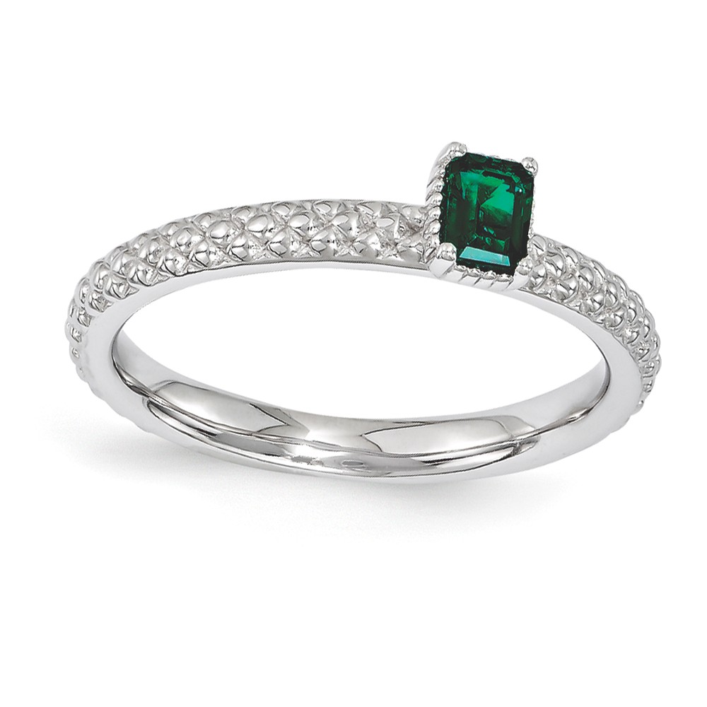 Sterling Silver Stackable Created Emerald Octagon Solitaire Ring Sz 5