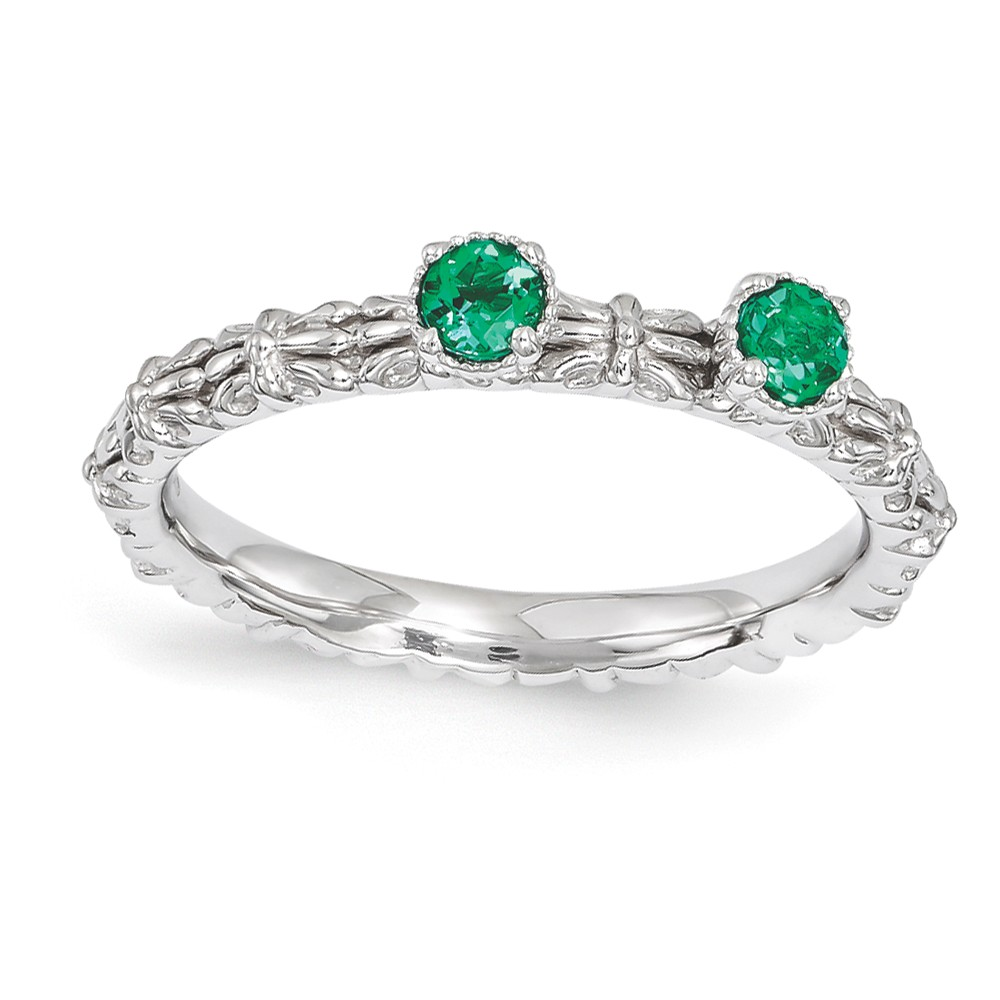 Stackable | Sterling | Emerald | Silver | Stone | Round | Ring | Size