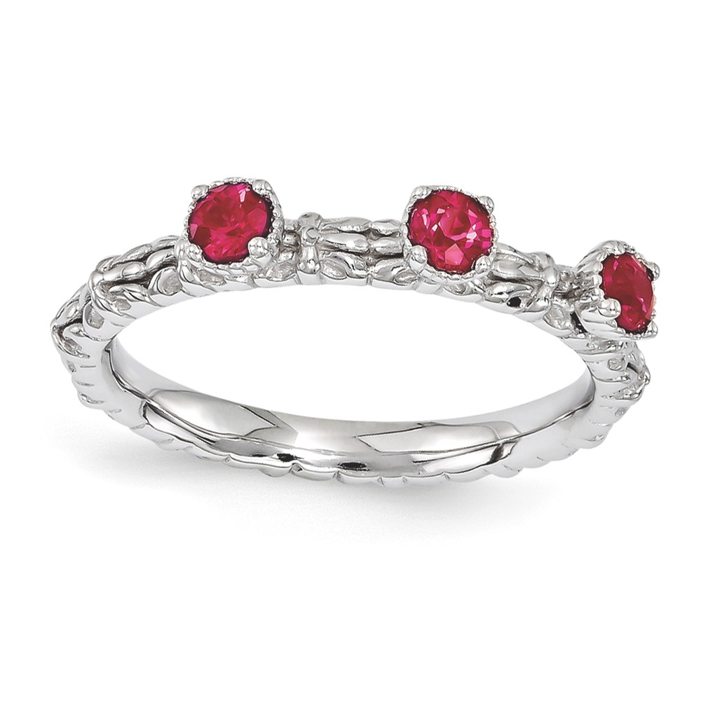 Sterling Silver Stackable Created Ruby Round Three Stone Ring Size 7