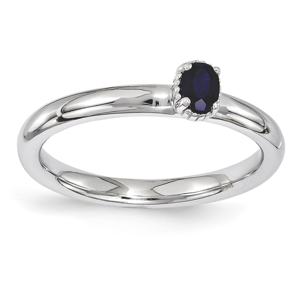 Stackable | Sapphire | Sterling | Single | Silver | Stone | Oval | Ring