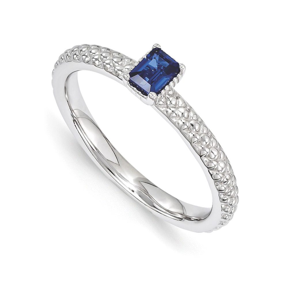 Solitaire | Stackable | Sapphire | Sterling | Silver | Ring