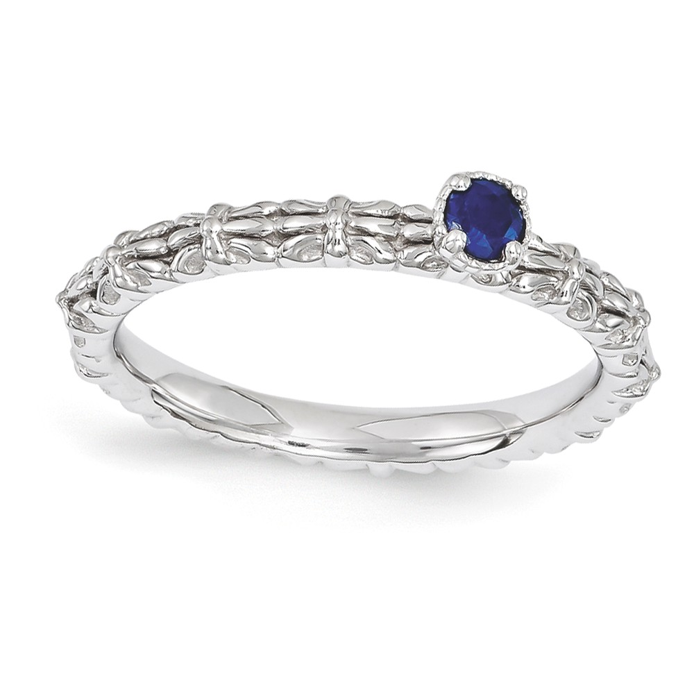 Stackable | Sapphire | Sterling | Silver | Stone | Round | Ring | One