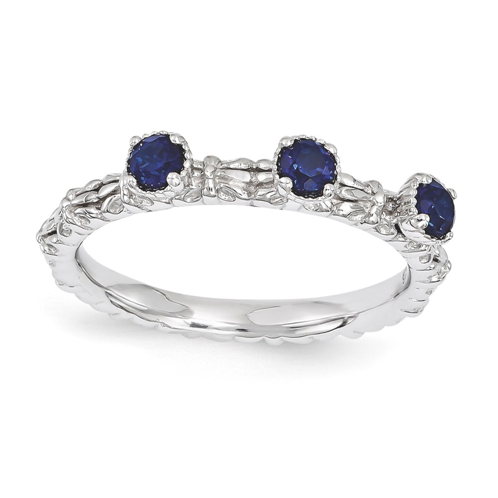 Stackable | Sapphire | Sterling | Silver | Stone | Three | Round | Ring