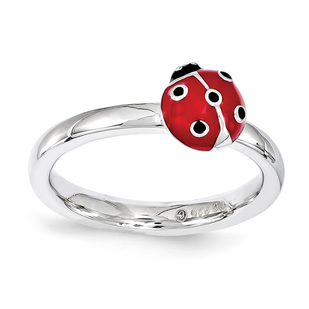 Sterling Silver Stackable Red & Black Enamel 8mm Ladybug Ring Size 8