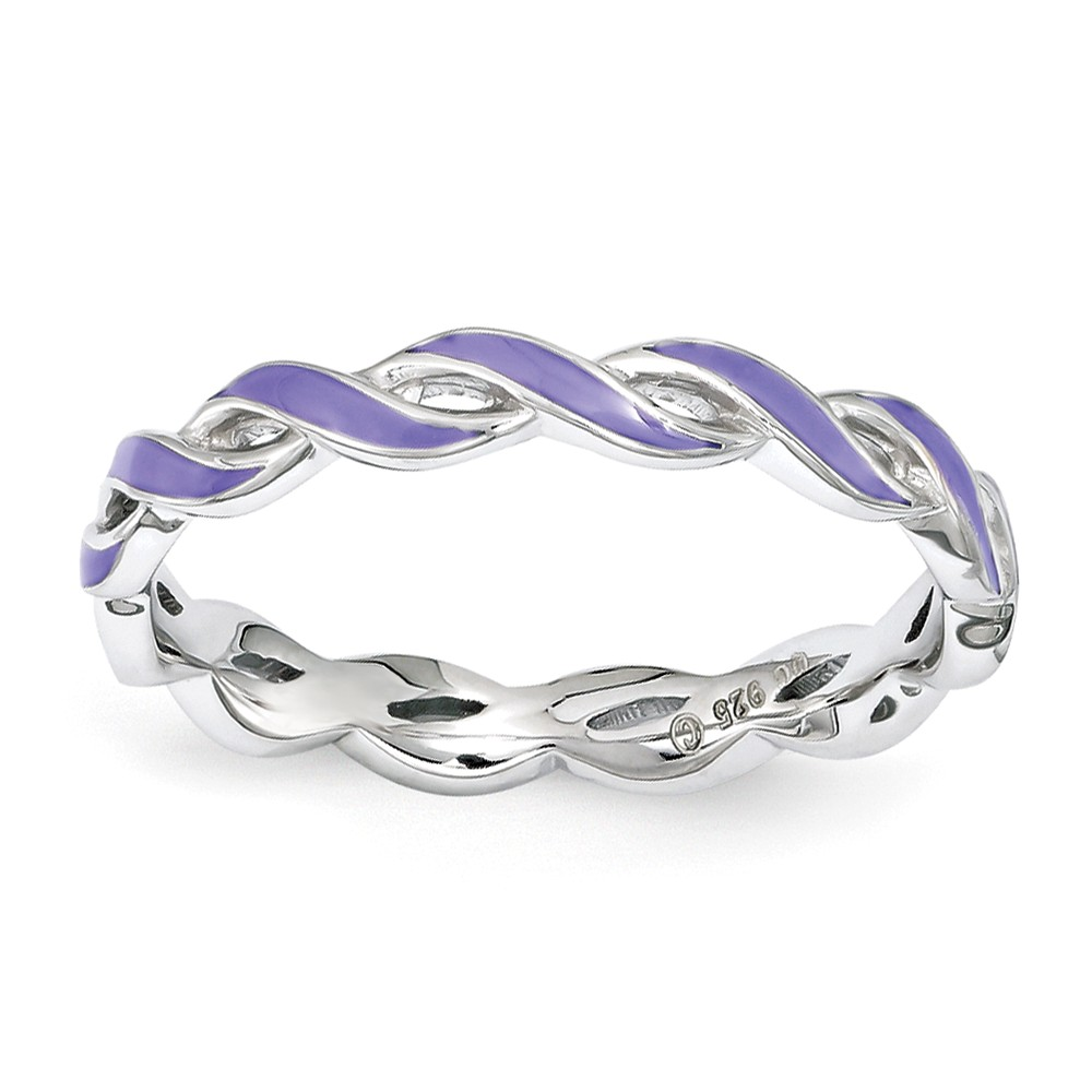 2mm Sterling Silver Stackable Expressions Purple Enamel Swirl Band Sz7