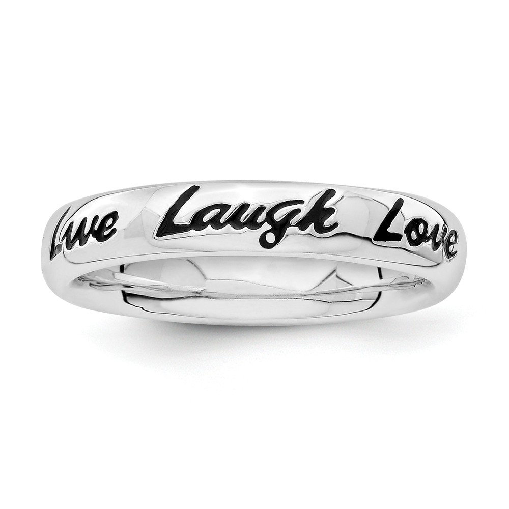 4mm Sterling Silver Stackable Enamel Live Laugh Love Script Band Sz 6