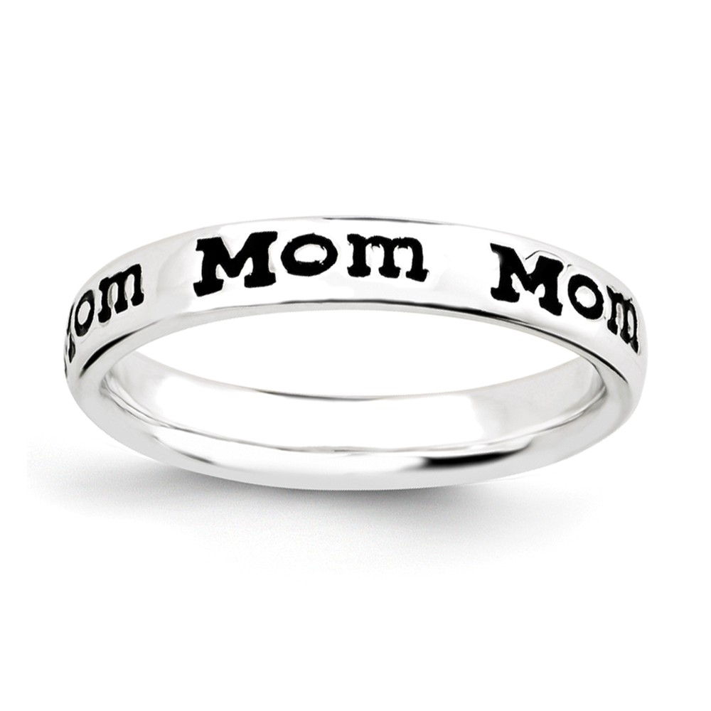 3.5mm Sterling Silver Stackable Black Enamel Mom Script Band Size 10