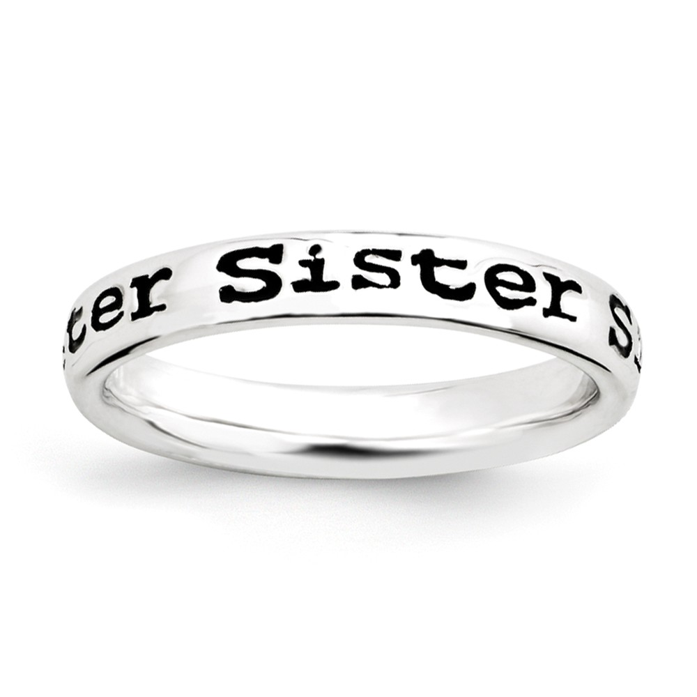 3.5mm Sterling Silver Stackable Black Enamel Sister Script Band Size 8