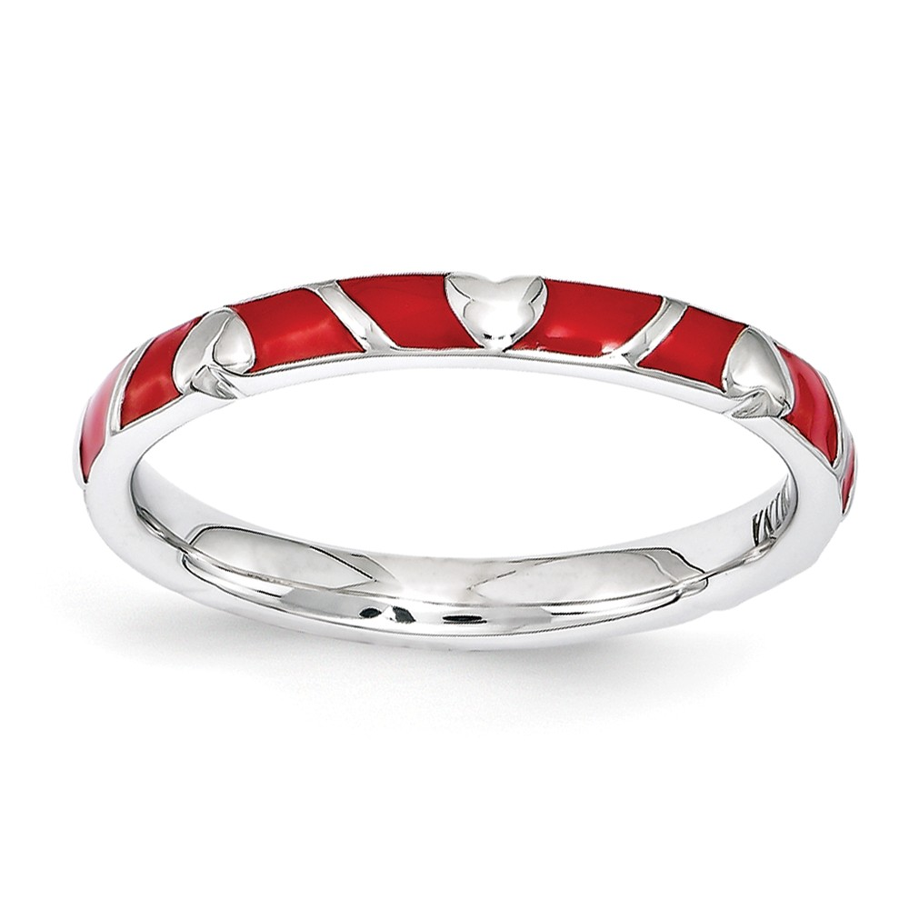 2.5mm Sterling Silver Stackable Expressions Red Enamel Heart Band Sz 9