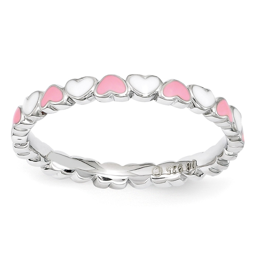 2.5mm Sterling Silver Stackable Pink & White Enamel Heart Band Size 9