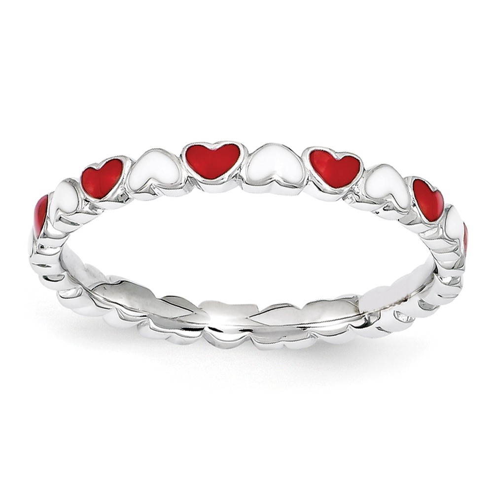 2.5mm Sterling Silver Stackable Red & White Enamel Heart Band Size 9