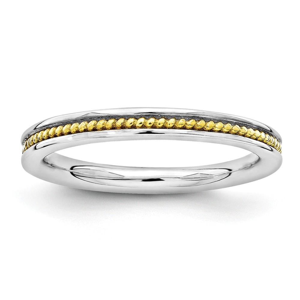 2.25mm Sterling Silver Stackable Gold Tone Plated Channeled Band Sz 10