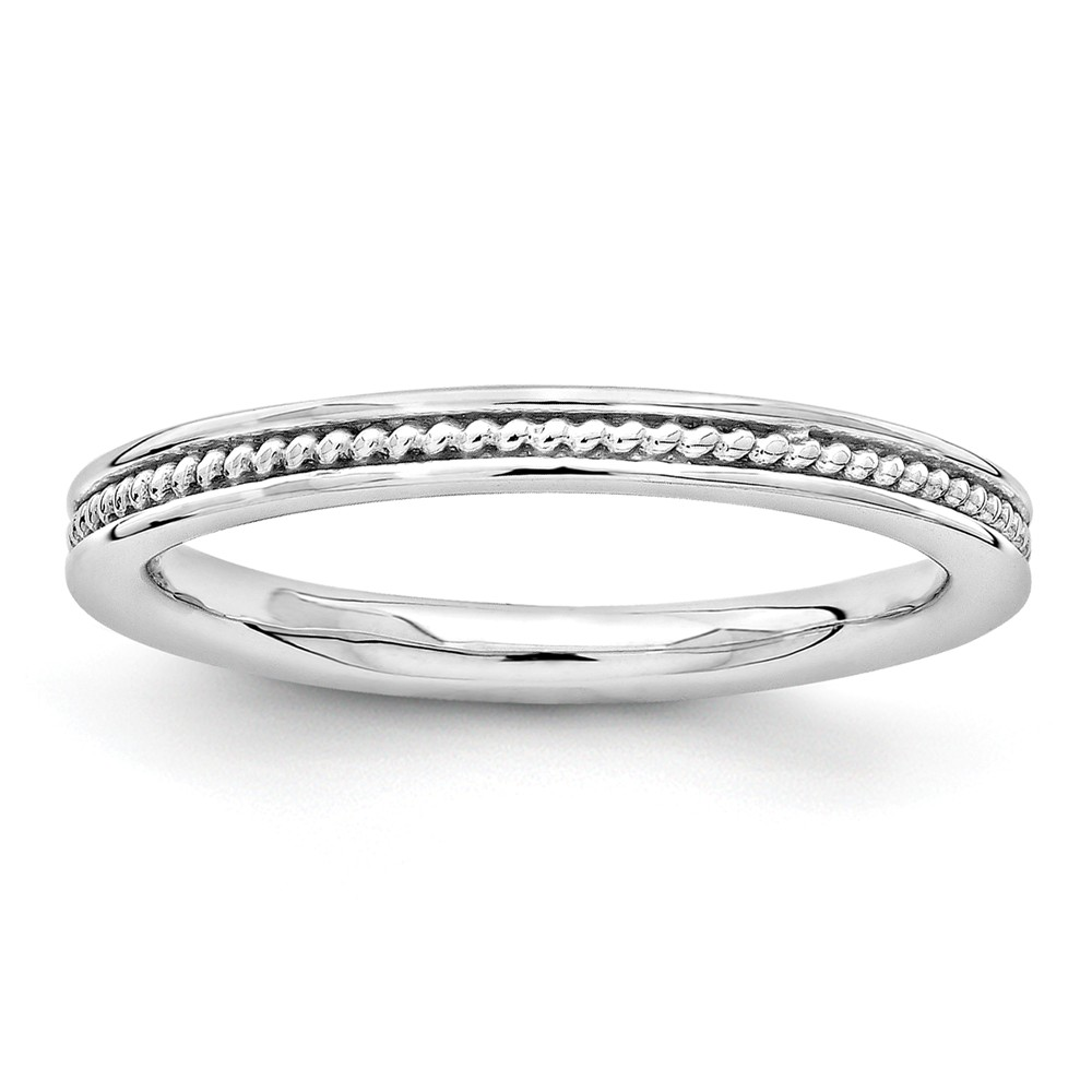 2.25mm Sterling Silver Stackable Rhodium Plated Channeled Band Sz 9