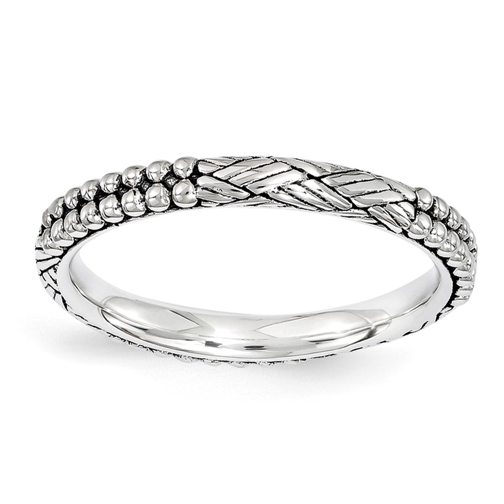 2.5mm Antiqued Sterling Silver Stackable Patterned Band Size 10