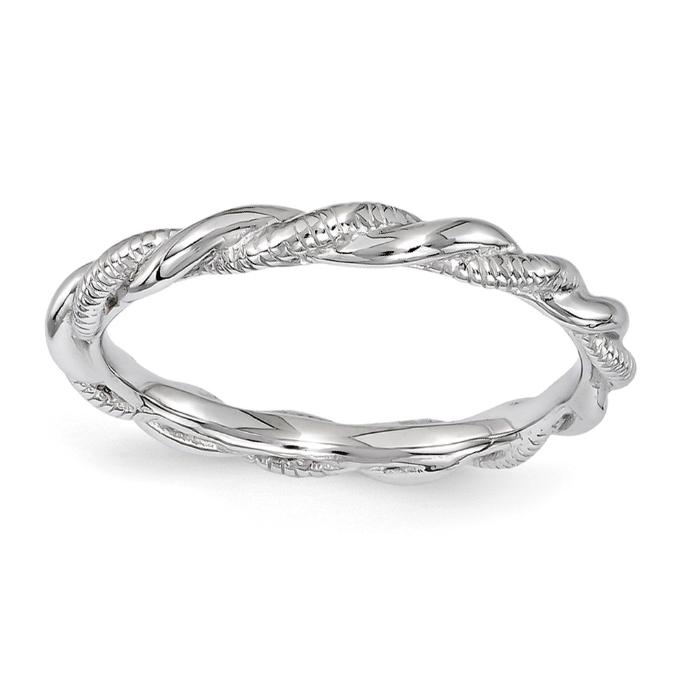2.5mm Rhodium Plated Sterling Silver Stackable Twisted Band Size 7