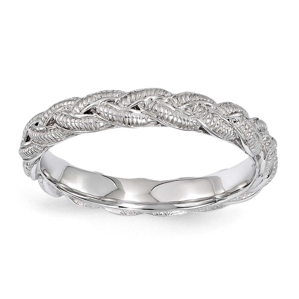 3.5mm Rhodium Plated Sterling Silver Stackable Textured Twist Band Sz7