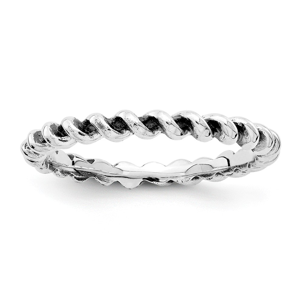 2.5mm Rhodium Sterling Silver Stackable Antiqued Twisted Band Size 8