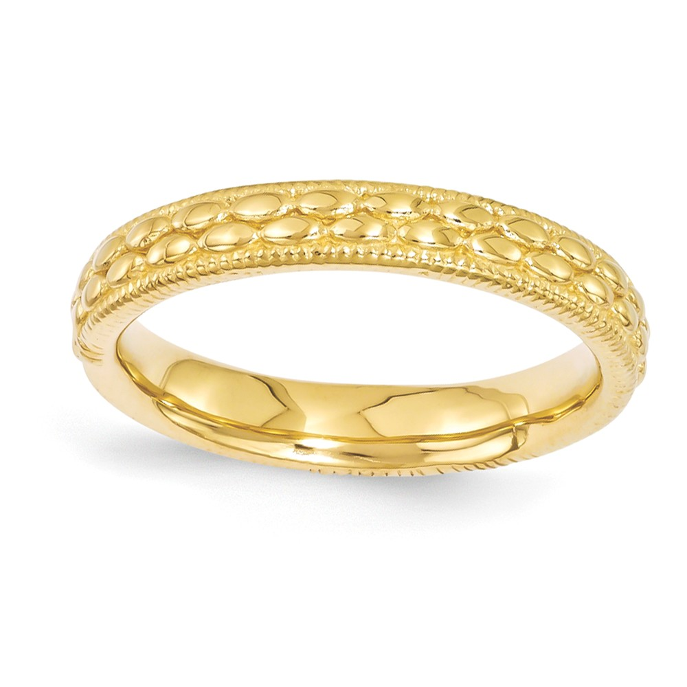 3.5mm 14k Yellow Gold Plated Sterling Silver Patterned Band Size 8
