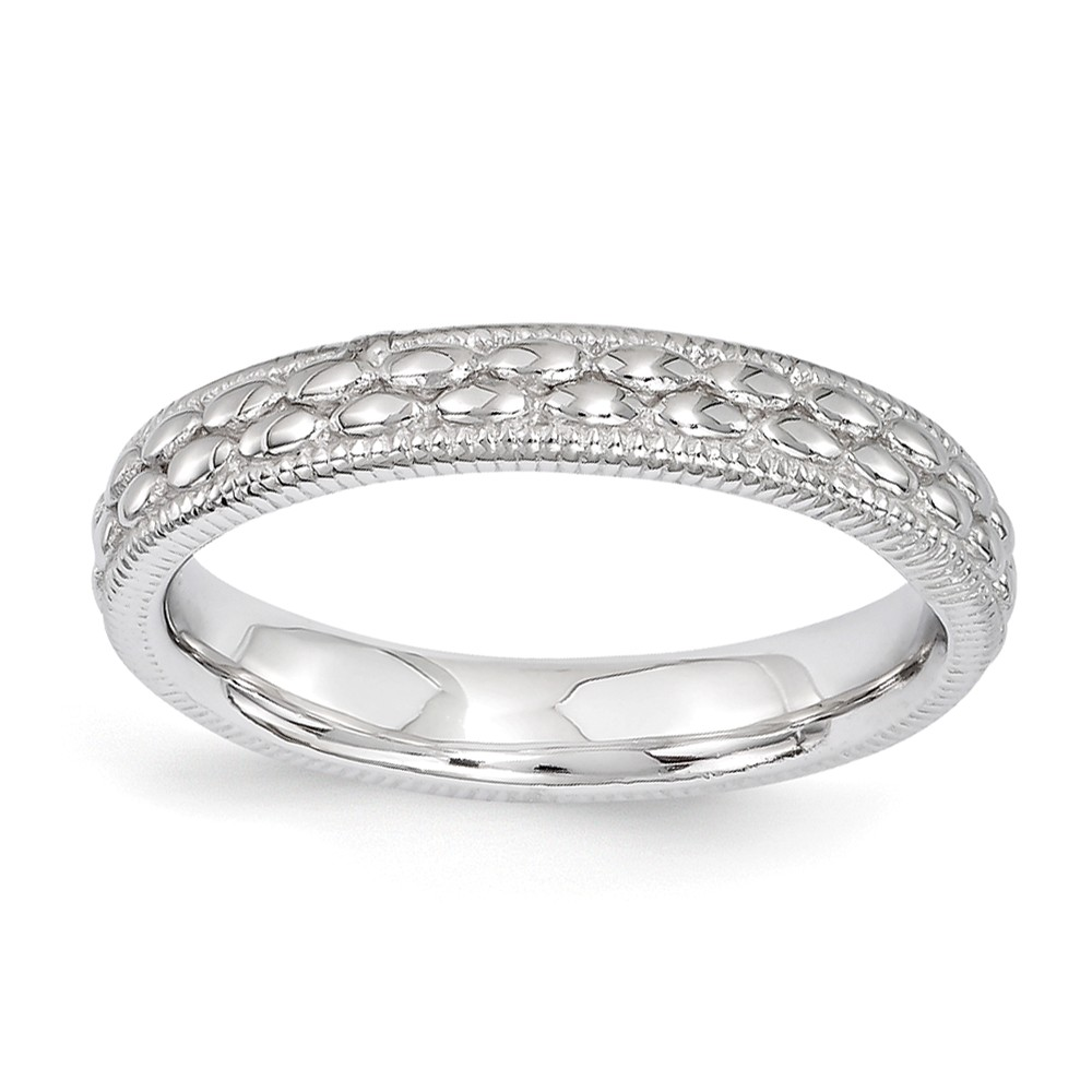 3.5mm Rhodium Plated Sterling Silver Stackable Patterned Band Size 10