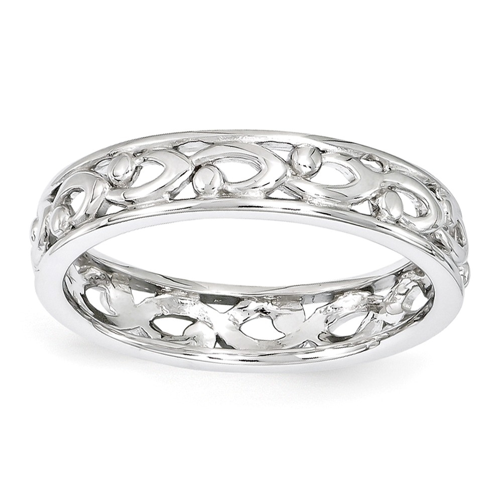 4.25mm Rhodium Plated Sterling Silver Stackable Carved Band Size 9