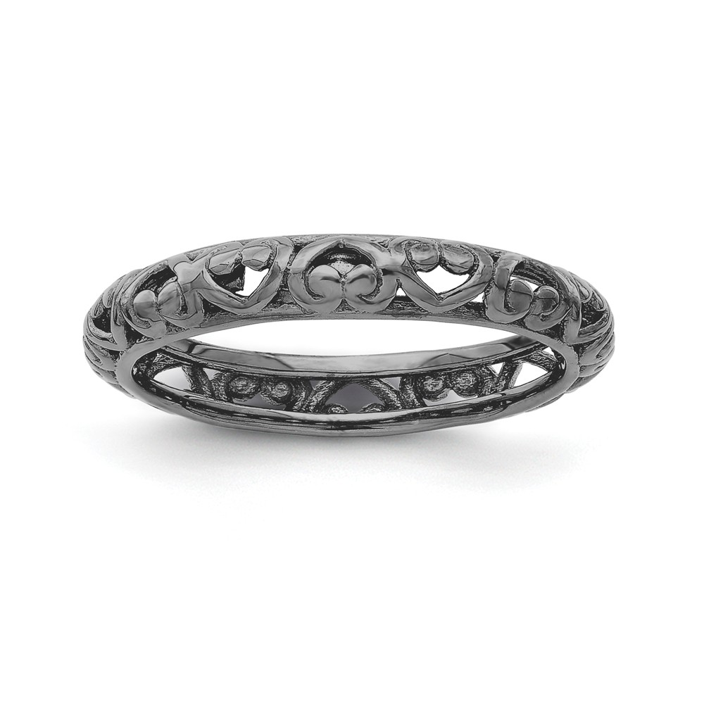 3.5mm Black Plated Sterling Stackable Domed Carved Heart Band Size 7
