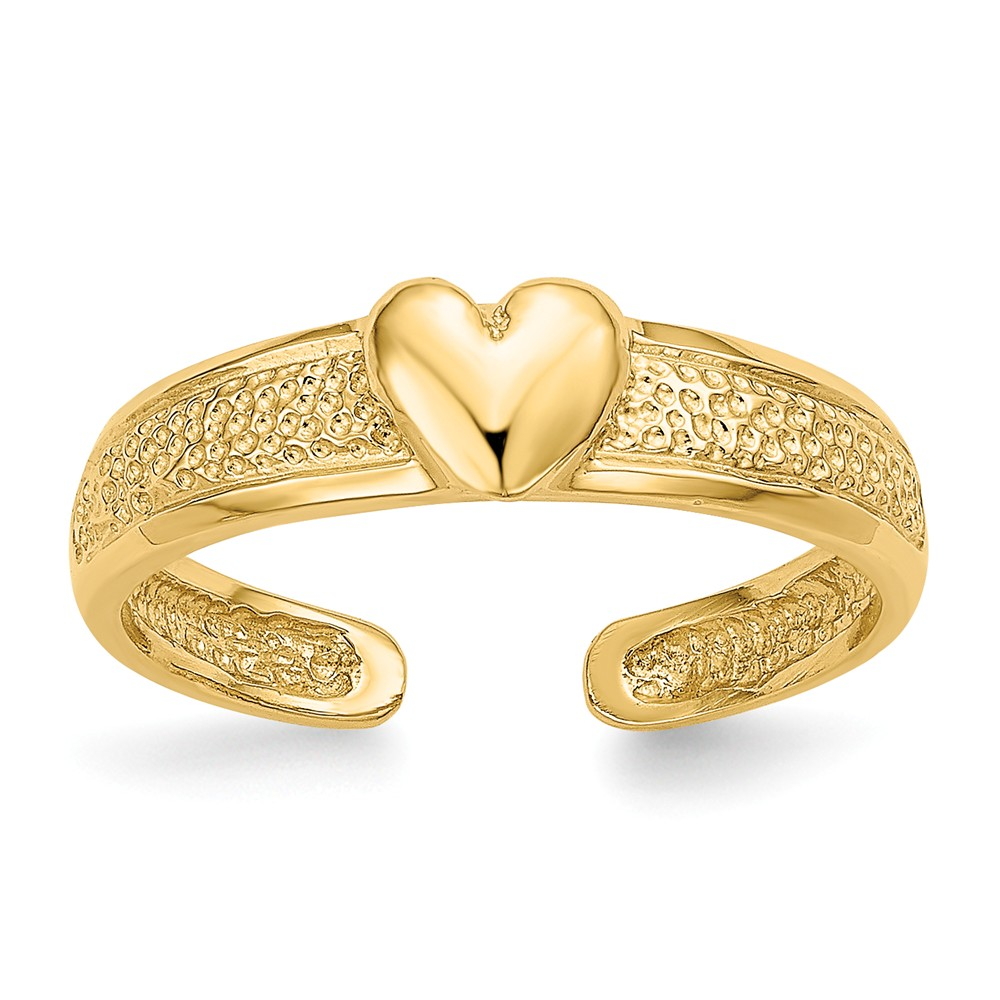 Heart Toe Ring in 14 Karat Gold