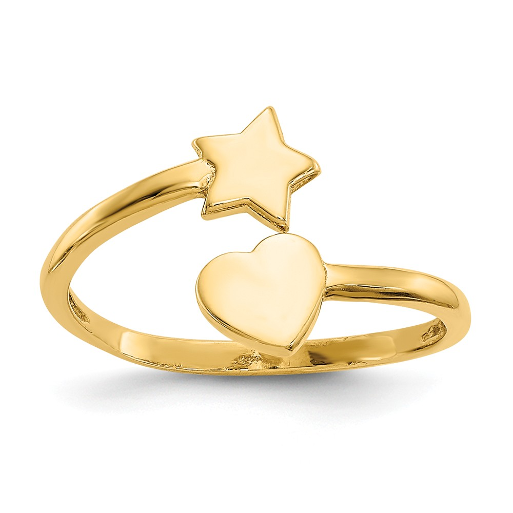 14K Yellow Gold Heart and Star Toe