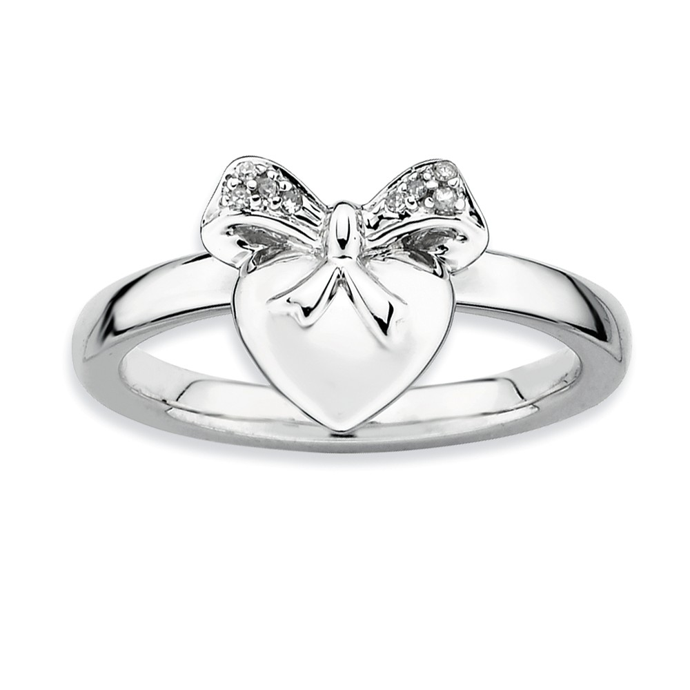 Sterling Silver Stackable .24 Ctw Hi/i3 Diamond 10mm Heart Ring Size 5