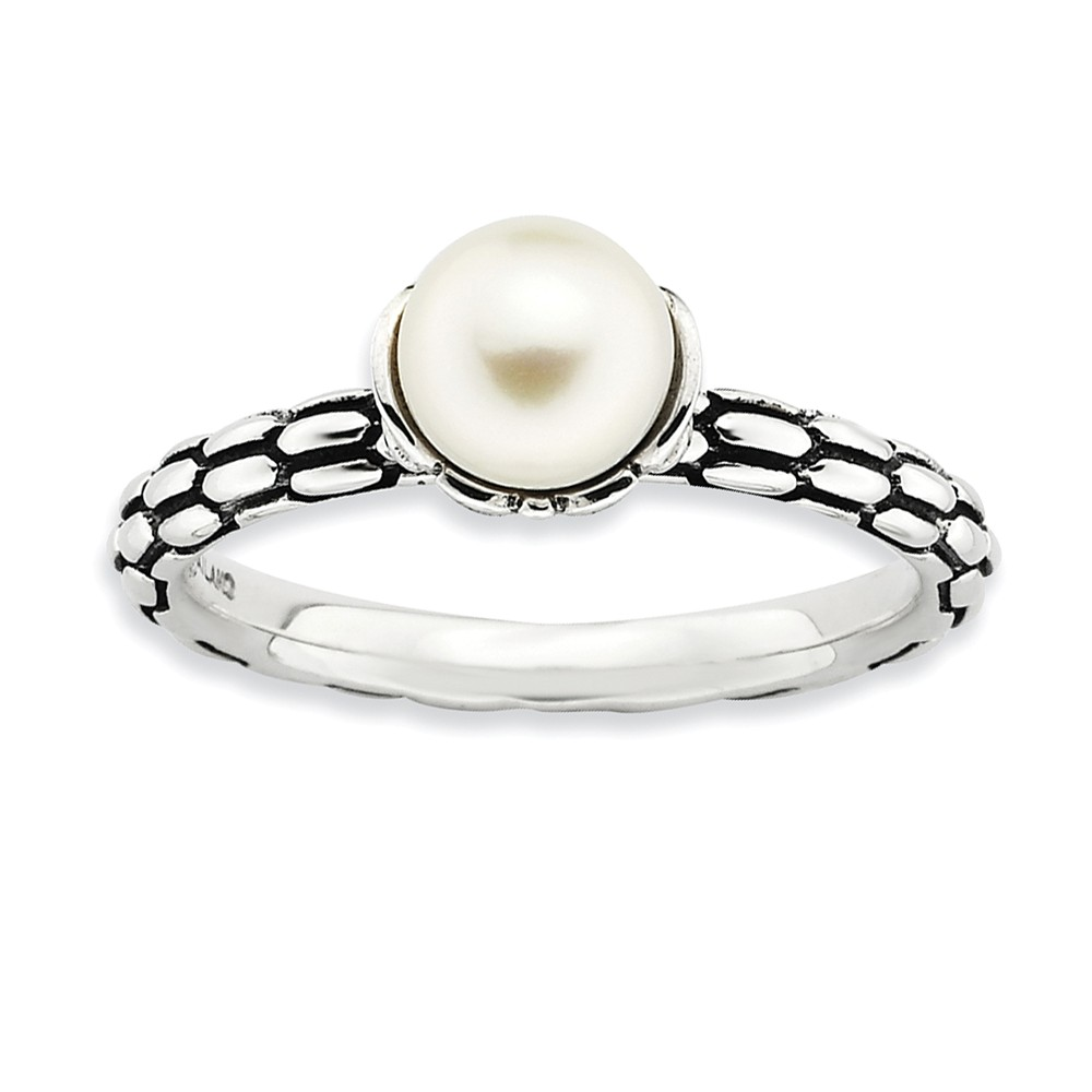 Fw Cultured Pearl & Sterling Silver Antiqued Ring (6.0-6.5mm), Size 10