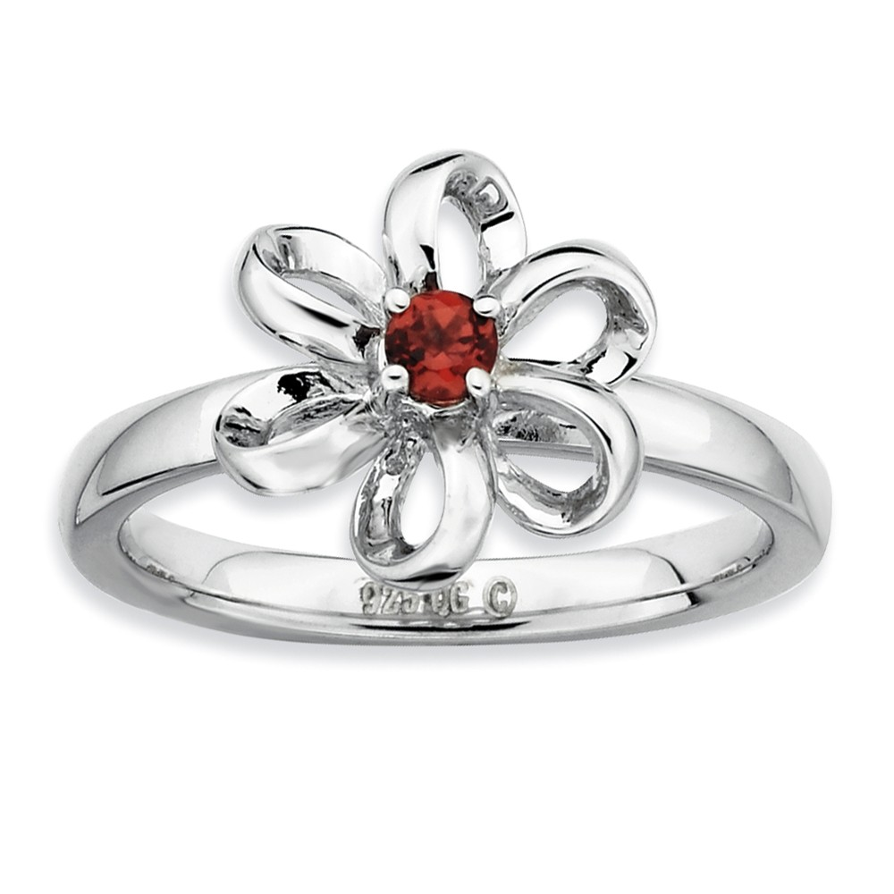 Sterling Silver & Garnet Stackable 11mm Looped Petal Flower Ring Sz 10