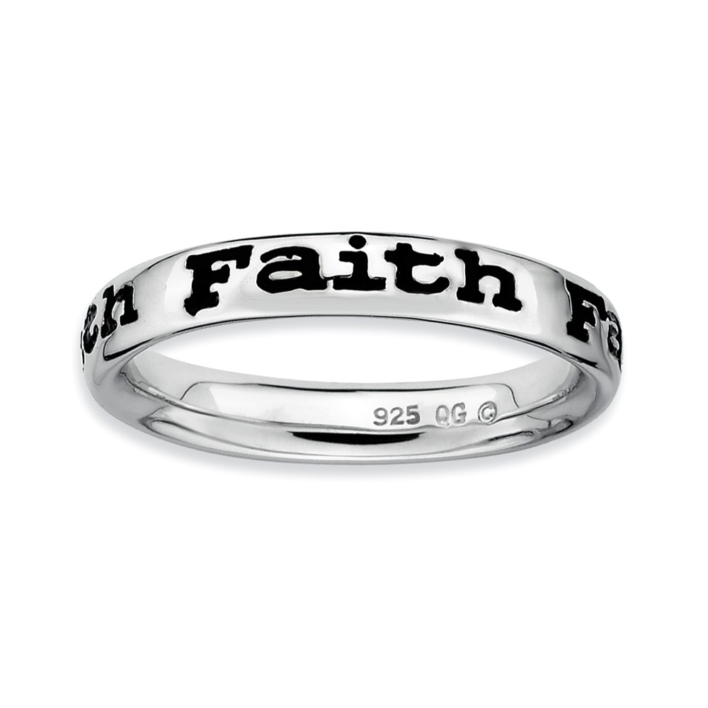 Sterling Silver And Black Enameled Stackable Faith Band, Size 10