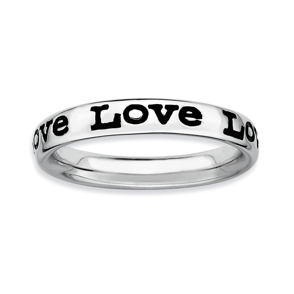 Sterling Silver And Black Enameled Stackable Love Band, Size 10