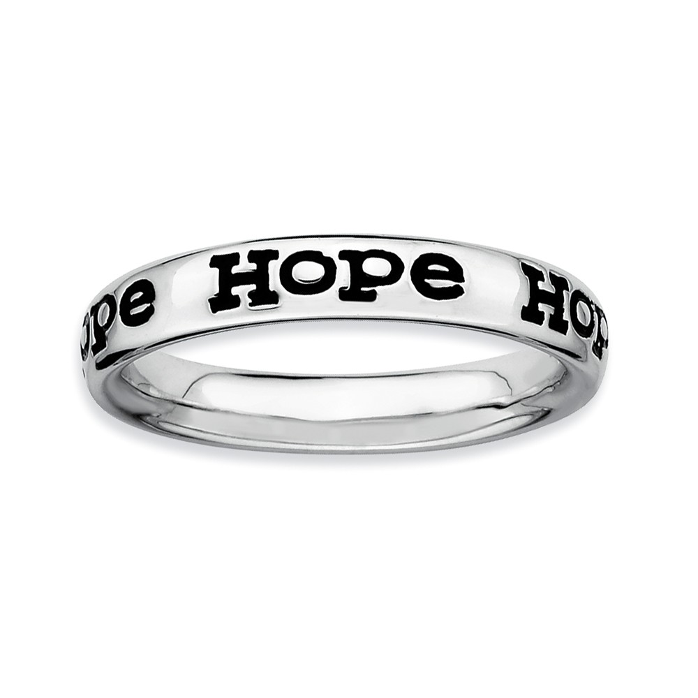 Sterling Silver And Black Enameled Stackable Hope Band, Size 10