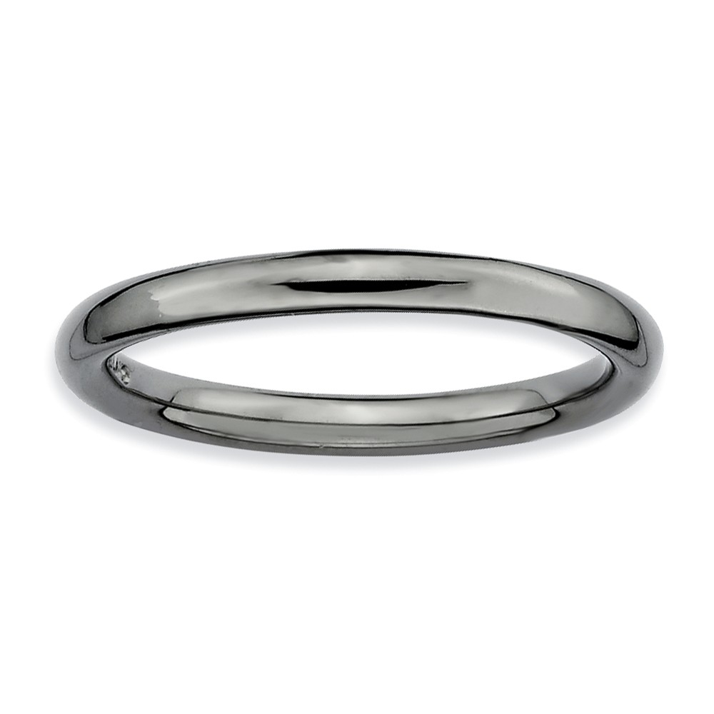 2.25mm Black Ruthenium Plated Sterling Silver Polished Band, Size 9