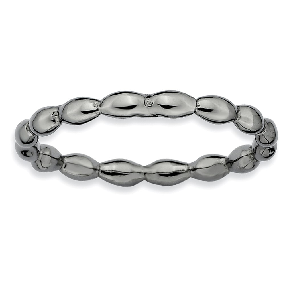 2.25mm Black Plated Sterling Silver Stackable Rice Bead Band, Size 6