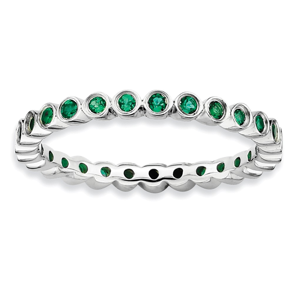 Sterling Silver Stackable Bezel Set Created Emerald 2.25mm Band Sz 10