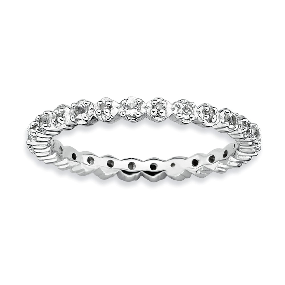 2.25mm Stackable White Topaz And .05ctw Hi/i3 Diamond Silver Band Sz 9