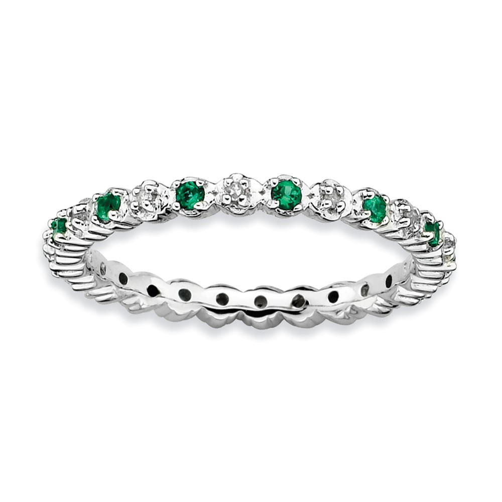 2.25mm Stackable Created Emerald & .04ctw Hi Diamond Silver Band Sz 6