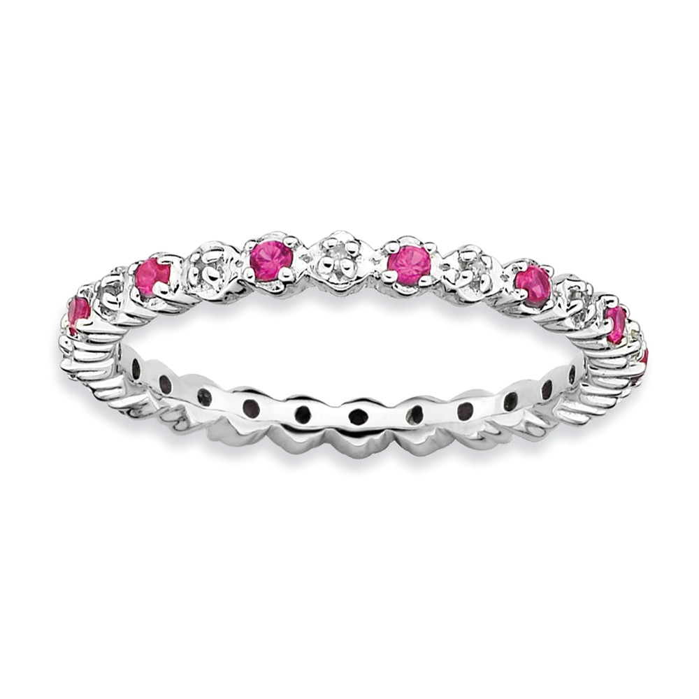 2.25mm Created Ruby & .04 Cttw Hi/i3 Diamond Sterling Silver Band Sz 6