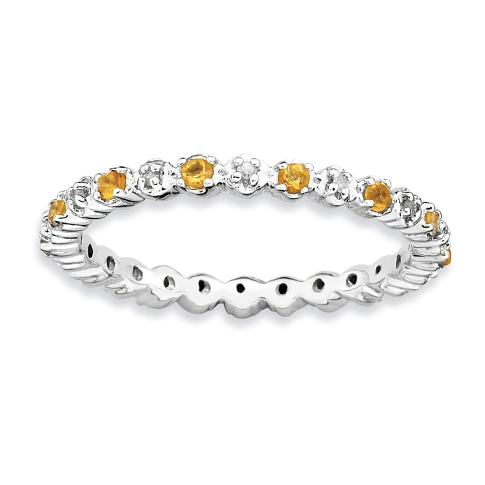 2.25mm Stackable Citrine & .04 Ctw Hi/i3 Diamond Silver Band Size 5
