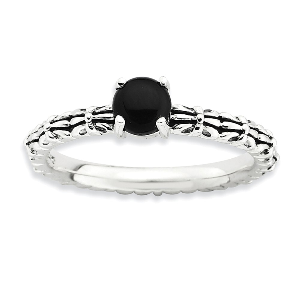 Antiqued Ss Stackable Black Agate Ring, Size 5