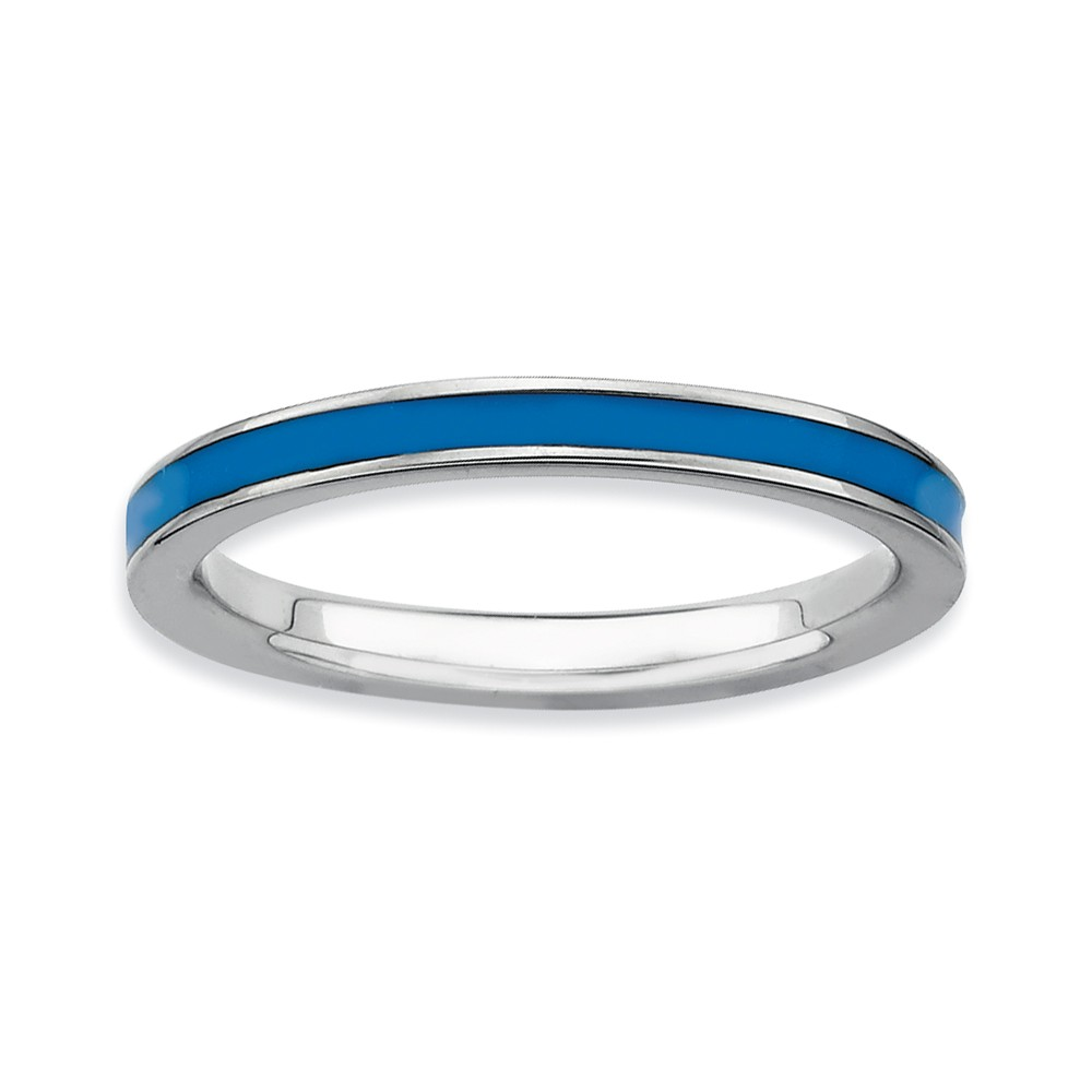 2.25mm Sterling Silver Stackable Blue Enameled Band Size 9