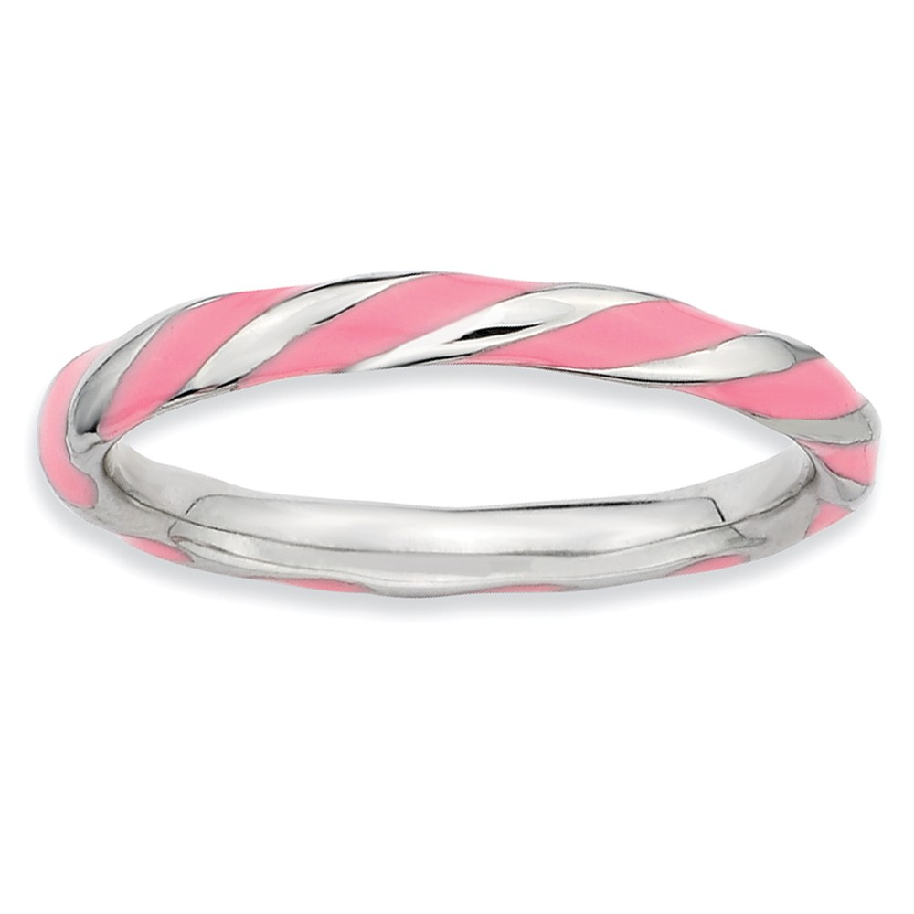 2.4mm Silver Twisted Pink Enameled Stackable Band Size 5