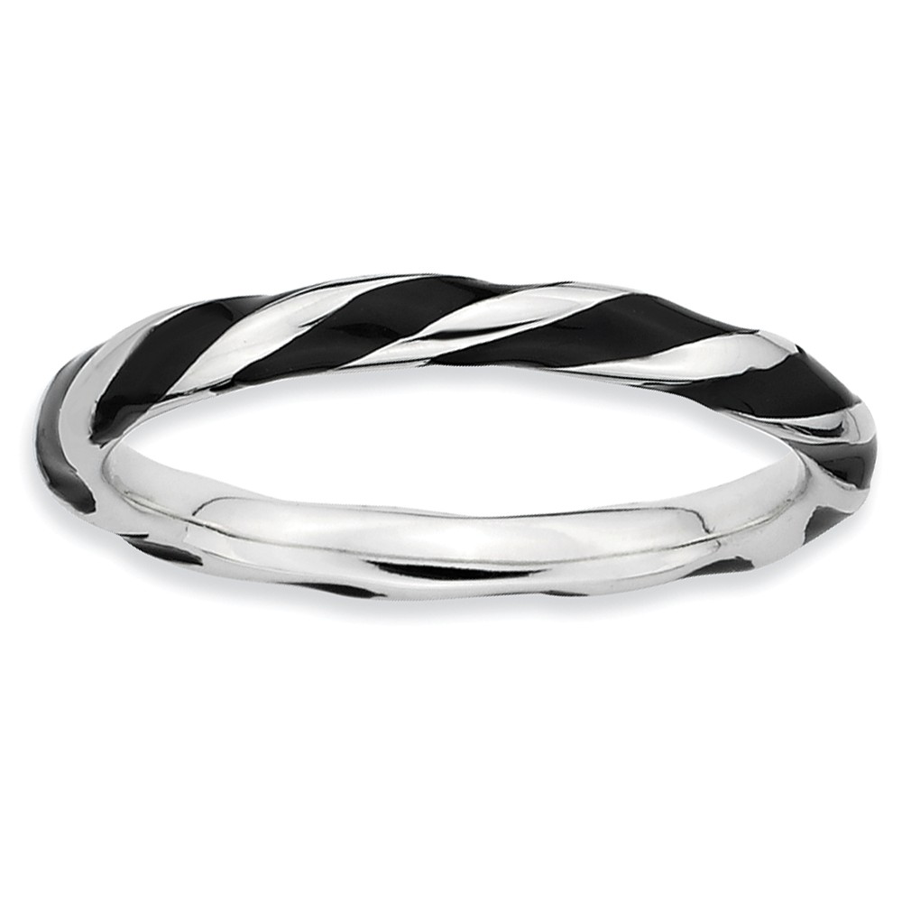 2.4mm Silver Twisted Black Enameled Stackable Band Size 9