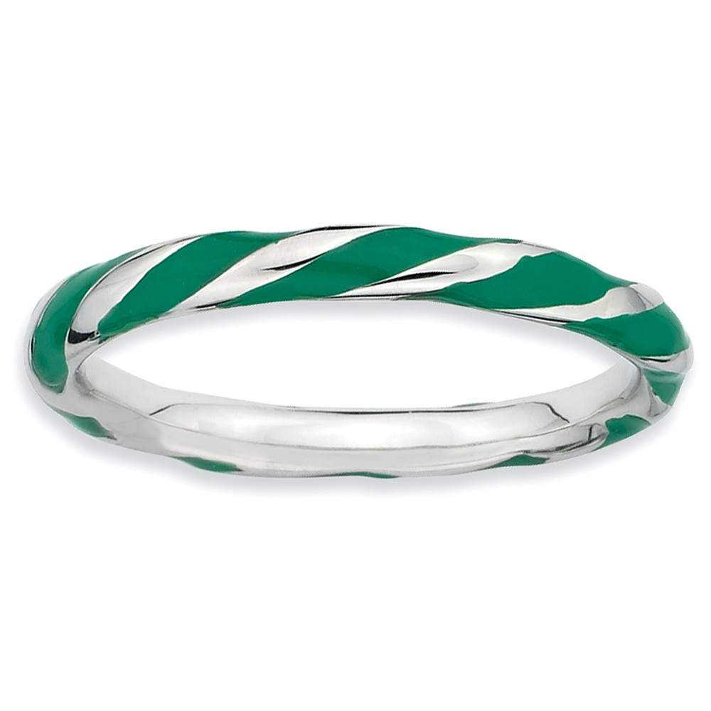 2.4mm Silver Twisted Green Enameled Stackable Band Size 8