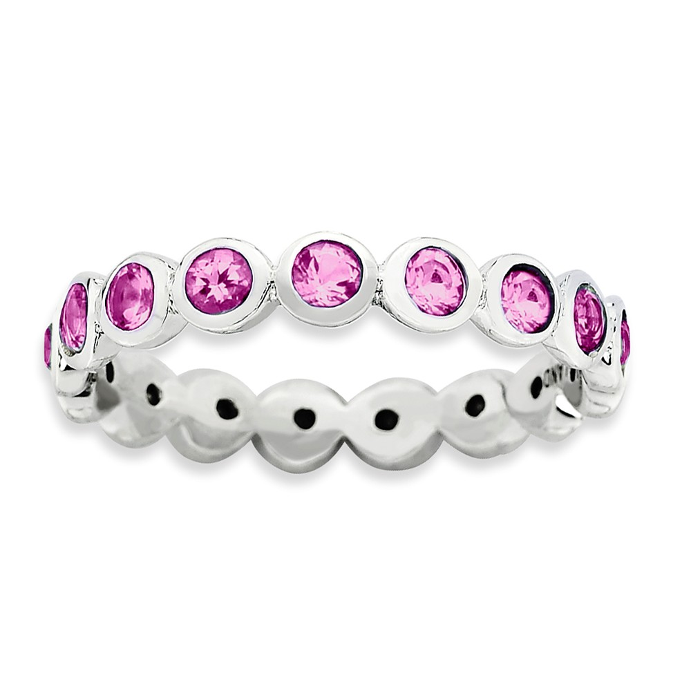 3.5mm Sterling Silver With Pink Crystals Stackable Band Sz 9
