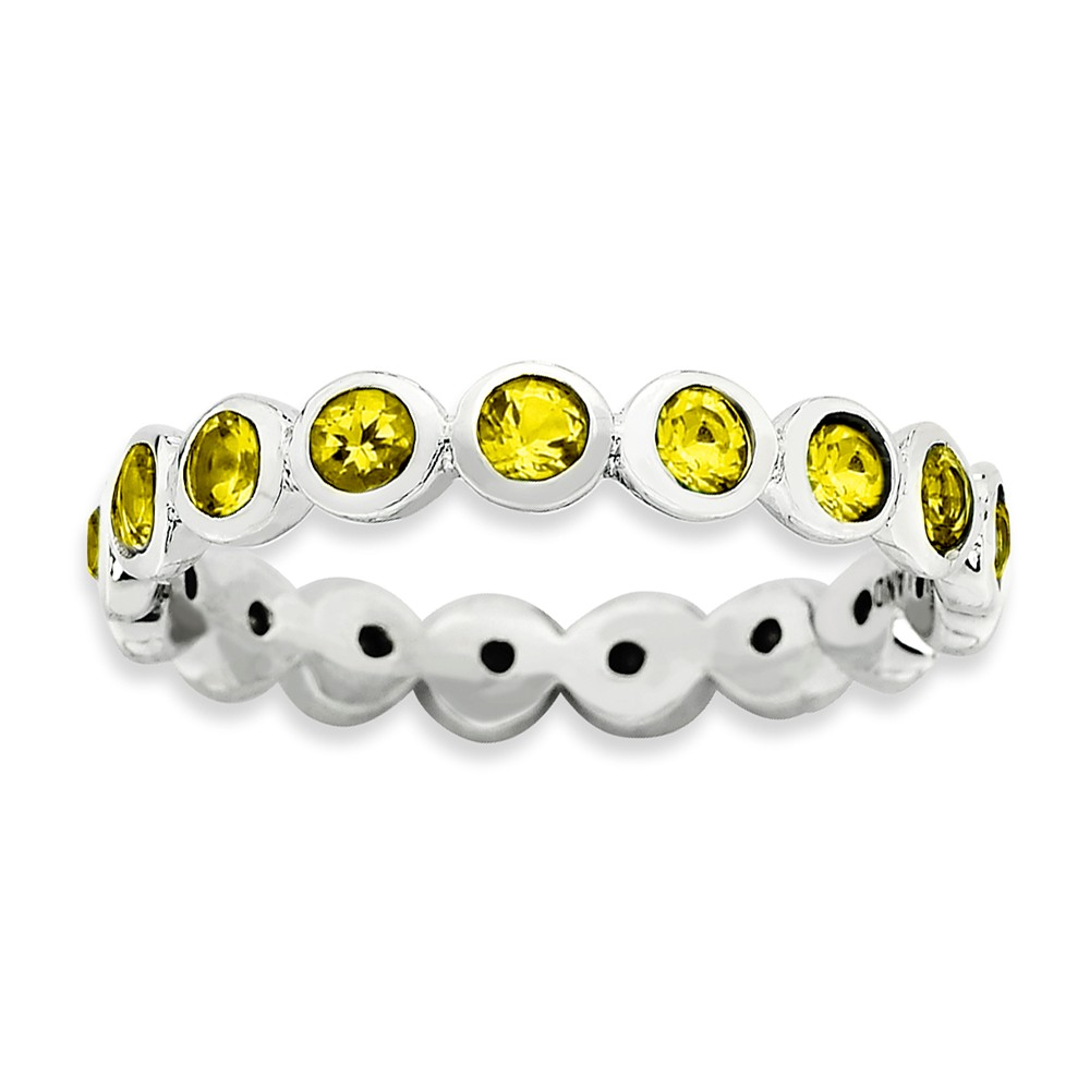 3.5mm Sterling Silver With Yellow Crystals Band Size 10